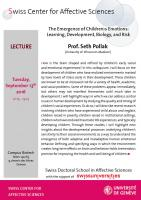 Lecture September 13th - Prof. Seth Pollak