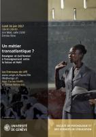 Un métier transatlantique ? Enseigner et (se) former à l'enseignement entre la Suisse et Haïti