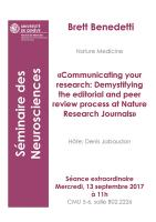 "13 septembre: Séminaire de neurosciences ""Communicating your research: Demystifying the editorial and peer review process at Nature Research Journals."""