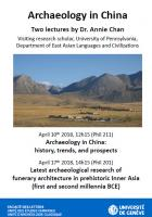 Archaeology in China: Latest archaeological research of funerary architecture in prehistoric Inner Asia (first and second millennia BCE)