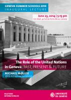 The Role of the United Nations in Geneva: Past, Present and Future